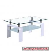 Konferenčný stolík, biela extra vysoký lesk HG, LIBOR NEW