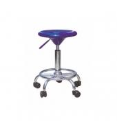 Stolička na kolieskách, modrý plast/chróm, MABEL NEW
