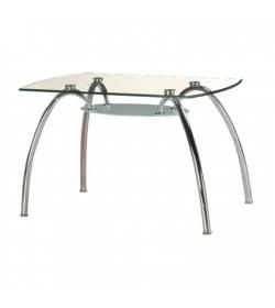 Jedálenský stôl, chróm/sklo, STEVE T-649