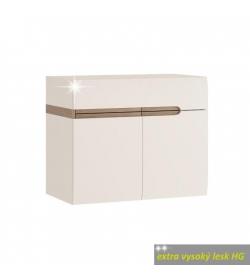Skrinka s umývadlom, biela, extra vysoký lesk, LYNATET TYP 150