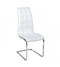 Jedálenská stolička, ekokoža biela/chróm, DULCIA