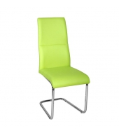 Jedálenská stolička, ekokoža zelená/chróm, BETINA