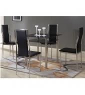 Jedálenský stôl, čierne sklo+chrómovaná oceľ, NANETA