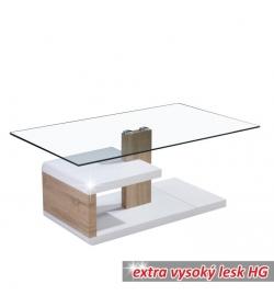 Konferenčný stolík, MDF+číre sklo, biela extra vysoký lesk HG/dub sonoma, LARS