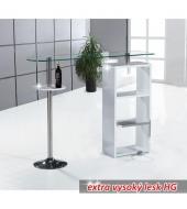 Barový kuchynský pult, biela s leskom/číre sklo/chróm, MELINA - NEW