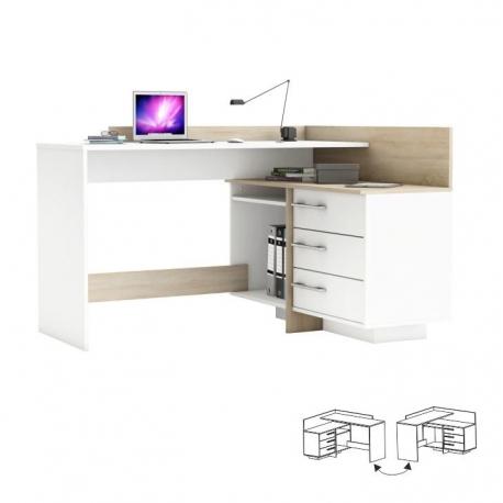 PC stôl, Ľ/P, rohový, dub sonoma/biela, TALE 484881