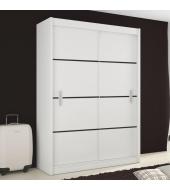 Skriňa s posúvnými dverami, biela/čierna, MERINA 150