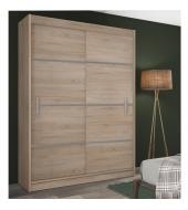 Skriňa s posúvnými dverami, dub sonoma/sivá, MERINA 150