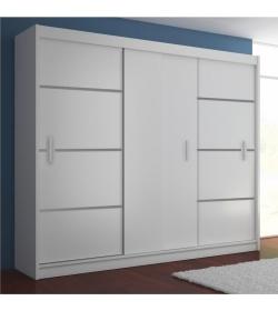 Skriňa s posúvnými dverami, biela/čierna, MERINA 250