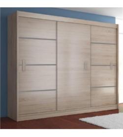 Skriňa s posúvnými dverami, dub sonoma/sivá, MERINA 250
