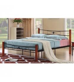 Manželská kovová posteľ, s roštom, kov+drevo-čerešňa, 180x200, AMARILO