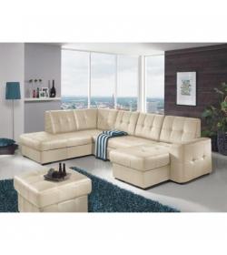 Rozkladacia rohová sedacia súprava v tvare U s úložným priestorom, L prevedenie, koža YAK M6901, TREK SYSTÉM U