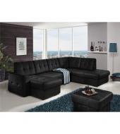 Rozkladacia rohová sedacia súprava v tvare U s úložným priestorom, P prevedenie, koža čierna YAK M6900, TREK SYSTÉM U