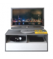 RTV stolík, DTD laminovaná, sivá grafit/biela, MARSIE