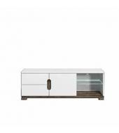RTV stolík, san remo/biely vysoký lesk s LED osvetlením, LORIEN LS 63