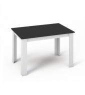 Jedálenský stôl 120x80, DTD laminovaná/ABS hrany, Biela/Čierna, KRAZ