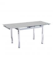 Jedálenský stôl, rozkladací, chróm+strieborná+mliečne sklo, DITMAR