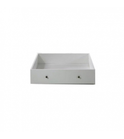 Zásuvný kontajner s kolieskami pod posteľ, DTD fóliovaná/MDF lakovaná, biela, PARIS