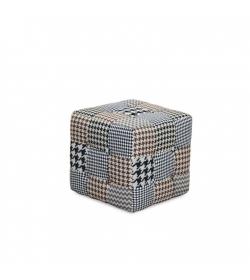 Dizajnový taburet, vzorovaná látka, PEPITO TYP 8