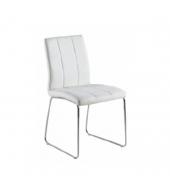 Stolička, biela textilná koža/chróm, SIDA