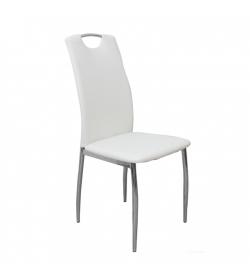 Stolička, ekokoža biela/chróm, ERVINA