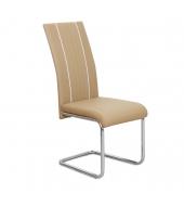 Jedálenská stolička, ekokoža béžová, biela/chróm, LESANA
