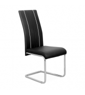 Jedálenská stolička, ekokoža čierna, biela/chróm, LESANA