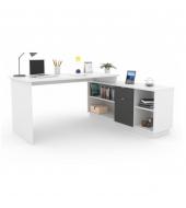 Kancelársky stôl, biela/sivá, DALTON NEW