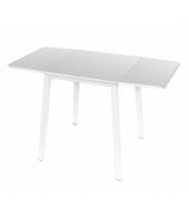 Jedálenský stôl, MDF fóliovaná/kov, biela, MAURO