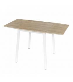 Jedálenský stôl, MDF fóliovaná/kov, dub sonoma/biela, MAURO