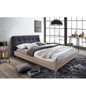 Manželská posteľ s roštom, 180x200, Látka/MDF, sivá/dub sonoma, LORAN