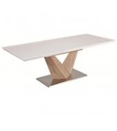 Jedálenský stôl, rozkladací, MDF+oceľ, biela extra HG/dub sonoma, DURMAN