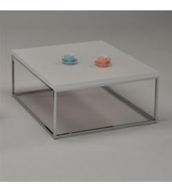 Konferenčný stolík biela/ extra vysoký lesk HG, chróm, NATANEL
