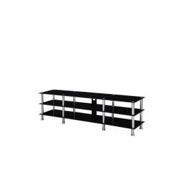 TV stolík, sklo/oceľ, čierna+oceľ, ARLO