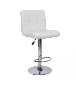 Barová stolička, ekokoža biela/chróm, KANDY