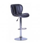 Barová stolička, ekokoža čierna/chróm DUENA