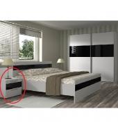 Nočný stolík, biela/čierne sklo, DEVON NEW
