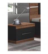 Nočný stolík, DTD laminovaná, orech/čierna, DEGAS
