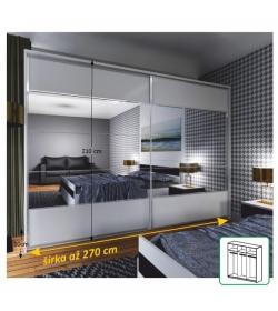 Zrkadlová skriňa 2 - dverová, biela / zrkadlo, NARINA NEW