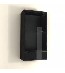 Závesná vitrína, čierny vysoký lesk, ADONIS AS 08