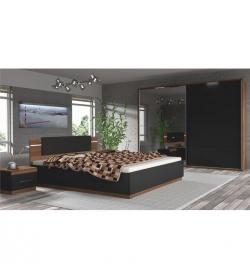 Spálňový komplet (skriňa+posteľ+2x nočný stolík), orech/čierna, DEGAS