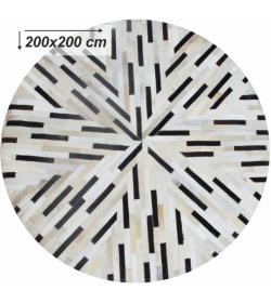 Luxusný koberec, pravá koža, 200x200, KOŽA TYP 8