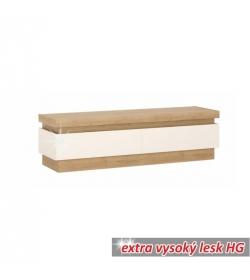 RTV stolík 01, dub riviéra/biela s extra vysokým leskom, LEONARDO