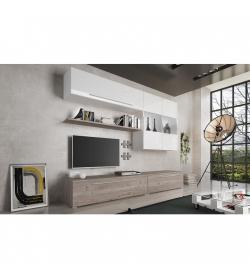Obývacia stena, MDF/DTD laminovaná, dub nelson/biely HG, SOFI