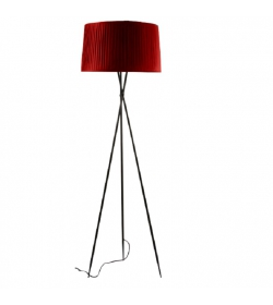 Stojacia lampa, kov/červené tienidlo, CINDA Typ 11