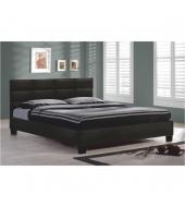Manželská posteľ 160x200, čierna textilná koža, MIKEL