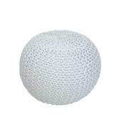 Pletený taburet, smotanová (biely melír) bavlna, GOBI TYP 1