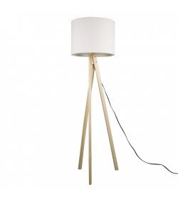 Stojacia lampa, biela/prírodné drevo, LILA Typ 6