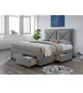 Luxusná posteľ s úložným priestorom, látka sivý melír, 180x200, XADRA