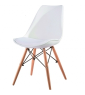 Stolička, biela/buk, KEMAL